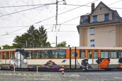 U-Bahn vor Graffitientfernung